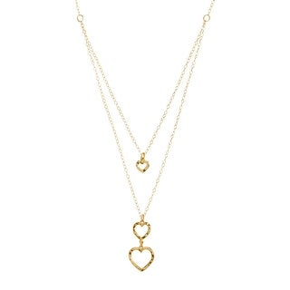 Just Gold Layered Textured Hearts Pendant in 10K Gold - Yellow