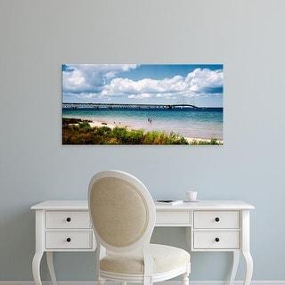 Easy Art Prints Panoramic Image 'Bridge across a lake, Mackinac Bridge, Mackinaw City, Michigan, USA' Canvas Art