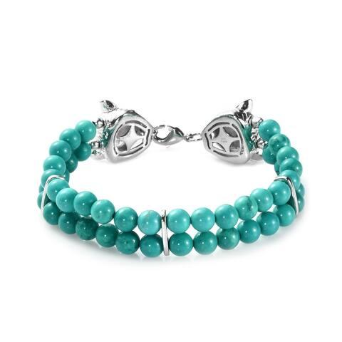 Green Turquoise Bracelet Size 7.25 Inch Ct 70.4 - Bracelet 7.25''
