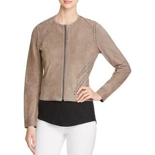 Elie Tahari Womens Aspen Jacket Scoop Neck Long Sleeves