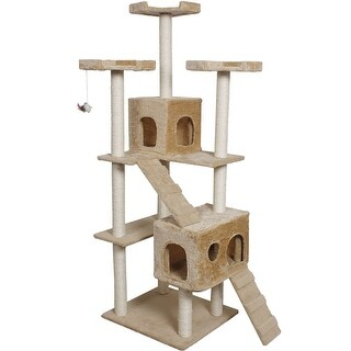 Gymax 70'' Cat Tree Condo Sisal-Covered Scratching Posts Mouse Toy Pet Home Beige