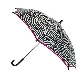 CTM® Girls' Zebra Print and Pink Trim Hook Handle Umbrella - One size