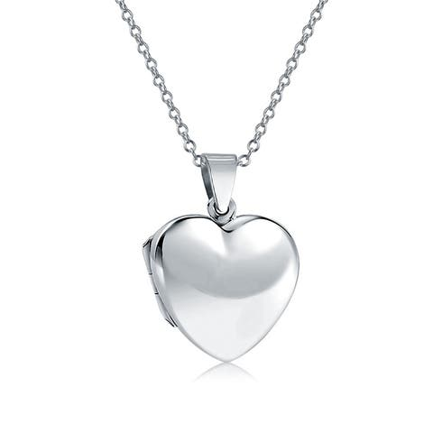 Basic High Polish Heart Shape Locket Pendant Engravable 925 Sterling Silver Necklace For Women 18 Inches