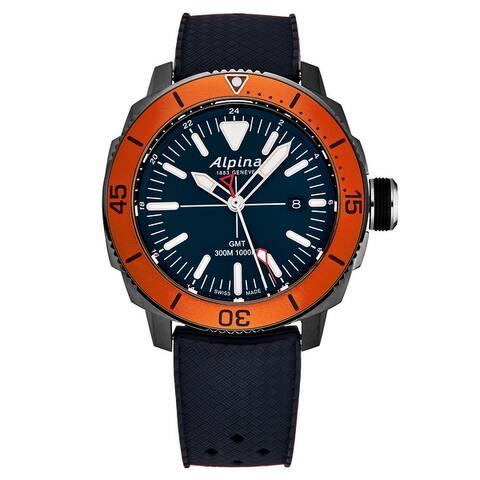 Alpina Men's AL-247LNO4TV6 'Seastrong' Diver GMT Blue Dial Rubber Strap Swiss Quartz Watch