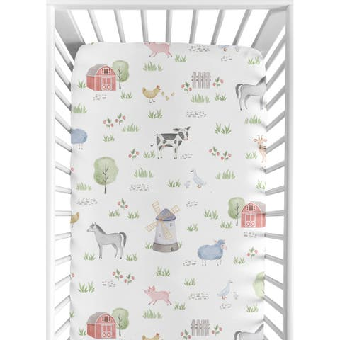 Farm Animals Baby Boy Girl Fitted Mini Portable Crib Sheet For Portable Crib - Watercolor Farmhouse Horse Cow Sheep Pig