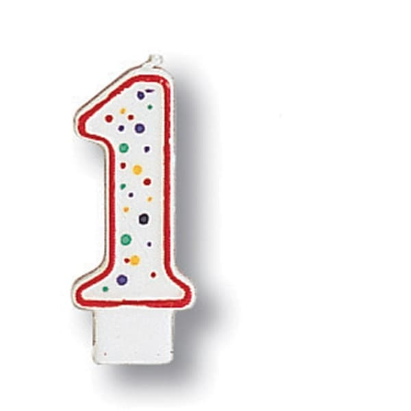 Polka Dot Numeral Candle # 1