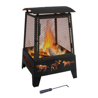 HAYWOOD FIREPLACE with taller sidewall Wildlife cutouts Black sandpaint Matte Blk screen 26370 poker included