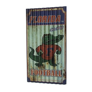 Florida Gators Football Weathered Finish Corrugated Metal Sign - Multicolored