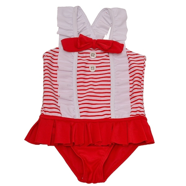Solo International Baby Girls Red White Bow Ruffle Stripes Swimsuit 12M
