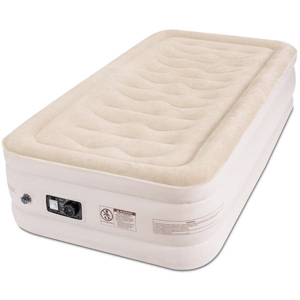 Inflatable Airbed Luxury Raised Air Mattress Built-in Pump Carry Bag Queen//Twin