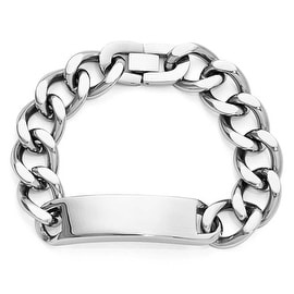 Chisel Polished Stainless Steel ID Bracelet - 9 Inches