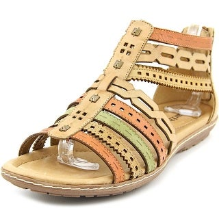 Earth Bay Women Open Toe Leather Brown Gladiator Sandal