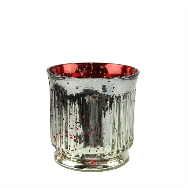 Set of 4 Red and Silver Ribbed Mercury Glass Decorative Votive Candle Holders 3.25""