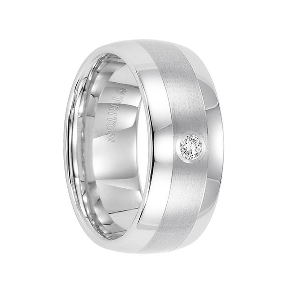 OSCAR Domed Tungsten Satin Ring with Polished Edges & White Diamond Setting by Triton Rings - 9mm