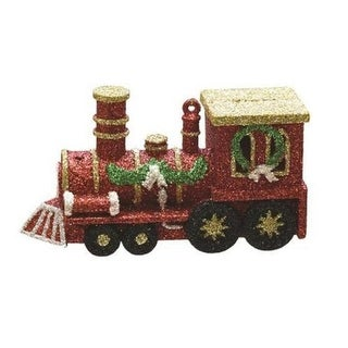 """4.5"""" Merry & Bright Red, Gold and Green Glitter Shatterproof Christmas Train Ornament"""