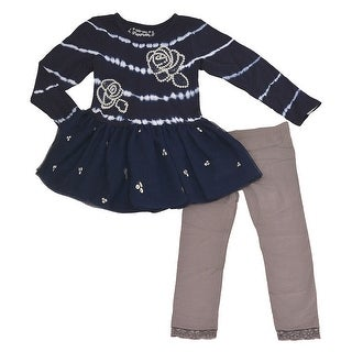 Flapdoodles Little Girls Navy Rose Sequin Detail 2 Pc Pant Outfit