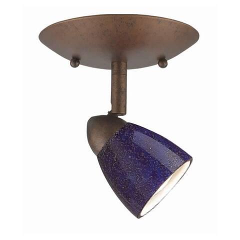 1 Light Glass Shade 120V Metal Light Fixture, Bronze and Blue