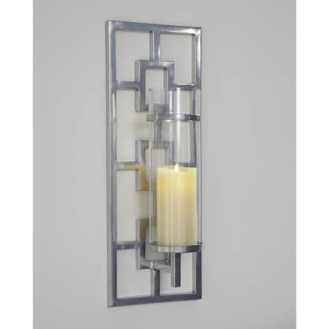"""Brede Silver Finish Wall Sconce - 8""""W x 7""""D x 22""""H"""
