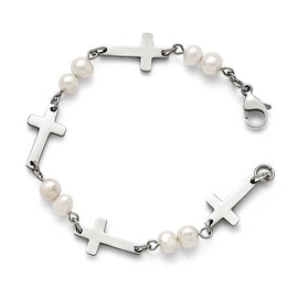 Chisel Stainless Steel Freshwater Cultured Pearls with Crosses Bracelet