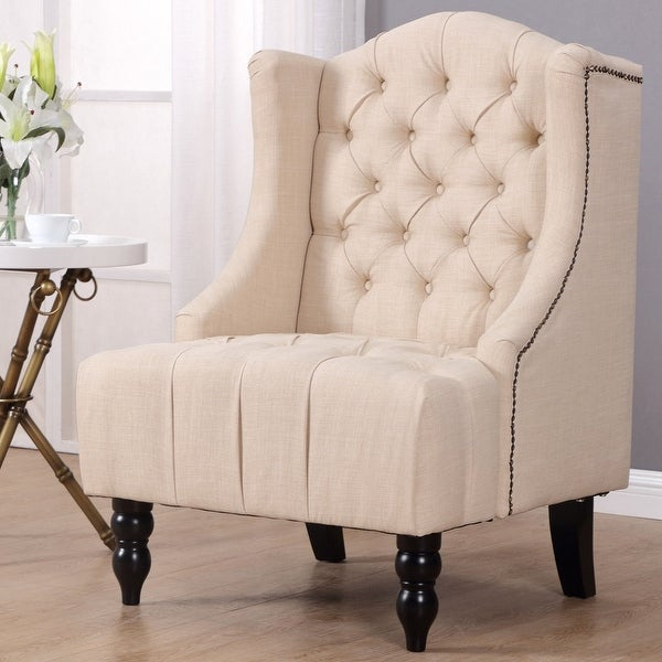 Shop Gymax Wingback Tufted Accent Chair Fabric Nailhead: Shop Costway Modern Tall Wingback Tufted Accent Armchair