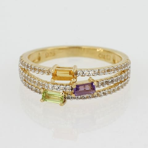 Multi Color Citrine, Peridot, Amethyst & White Topaz Multi Row Ring in Yellow Plated Sterling Silver by Miadora