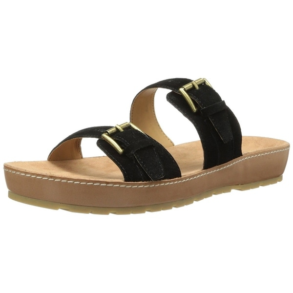Nine West Womens Ticktock Leather Open Toe Casual Slide Sandals