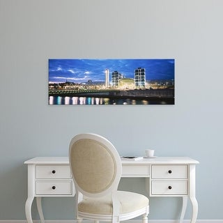 Easy Art Prints Panoramic Image 'Buildings in water, Spree River, Central Station, Berlin, Germany' Canvas Art