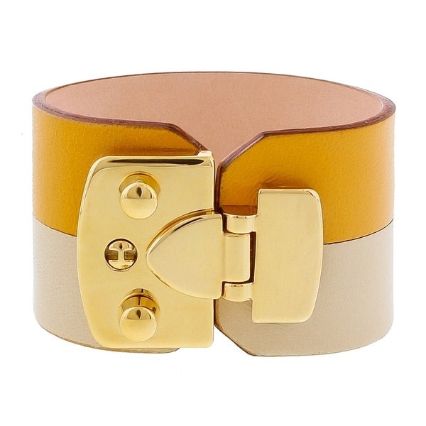 Stamerra BOSSA GIALLIO Sunflower Genuine Leather Cuff Bracelet