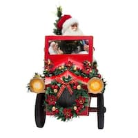 "22"" Red and White Garlands/Wreath Decorated Santa Driving Car Table Piece"