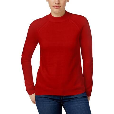 Karen Scott Womens Petites Mock Turtleneck Sweater Knit Ribbed Trim