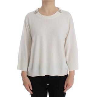 Dolce & Gabbana Dolce & Gabbana White Cashmere Floral Pearl Sweater - it42-m