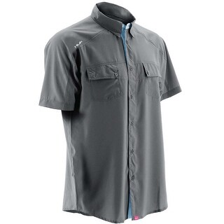 Huk Men's Next Level Charcoal Grey Small Button Down Short Sleeve