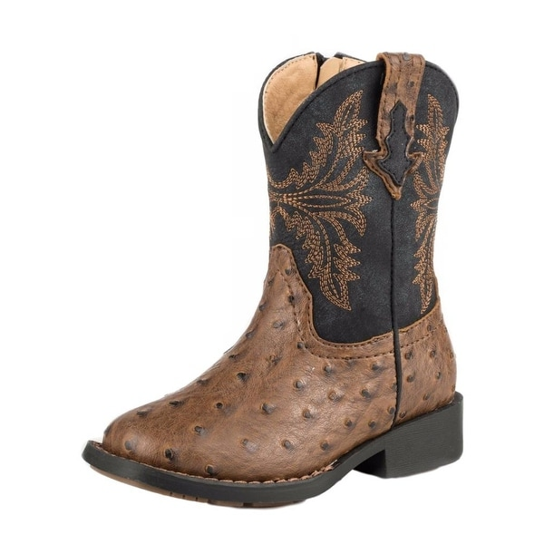 Roper Western Boots Boys Jed Faux Leather Brown 09-017-1224-2003 BR