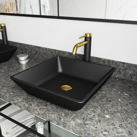 VIGO Black Roma MatteShell Vessel Bathroom Sink and Lexington cFiber Faucet in Matte Brushed Gold and Matte Black