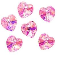 Swarovski Crystal, 6228 Heart Pendants 10mm, 6 Pieces, Light Rose AB