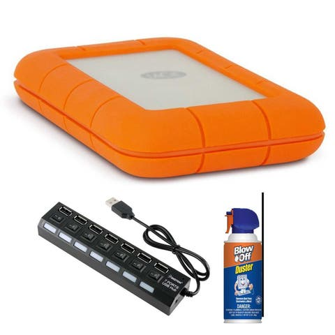 LaCie Rugged USB-C 1TB Hard Drive with Air Duster and USB Hub Bundle