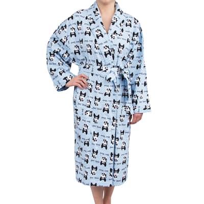 Leisureland Women's Cotton Flannel Long Robe Bow Wow Dog Design