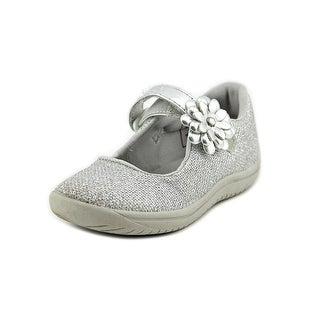 Stride Rite Haylie Toddler Round Toe Canvas Silver Mary Janes