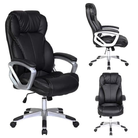 2xhome Black Leather Ergonomic High Back Executive Office Chair Tilt With Arm Manager Conference Room Padded Boss Comfortable