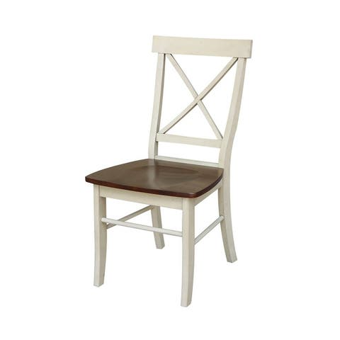 International Concepts X-Back Chair with Solid Wood Seat (Set of 2)