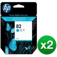 HP 82 69-ml Cyan DesignJet Ink Cartridge (C4911A) (2-Pack)