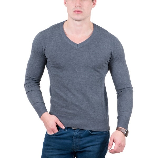 Real Cashmere Anthracite V-Neck Fine Cashmere Blend Mens Sweater