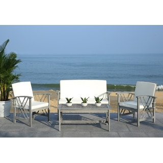 Shop Safavieh Outdoor Living Ozark Brown/ Navy Acacia Wood ... on Safavieh Outdoor Living Montez 4 Piece Set id=99537