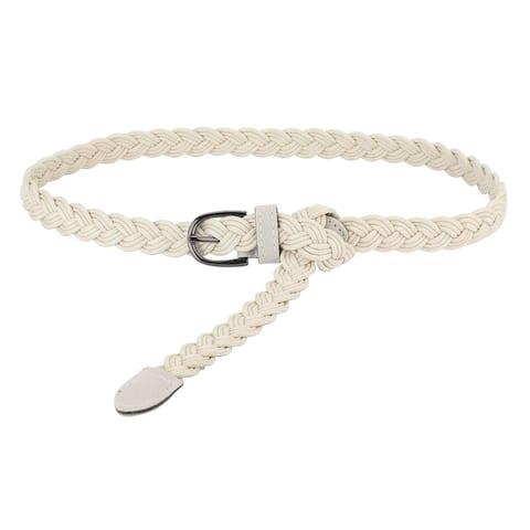 Adjustable Thin Braided Waistband Rope Belt for Women khaki - White