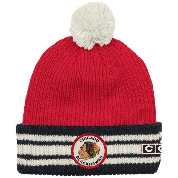 06fe0f48bab7f8 Shop Chicago Blackhawks Watch Cap Cuffed Knit Hat with Pom - Free Shipping  On Orders Over $45 - Overstock - 18681132