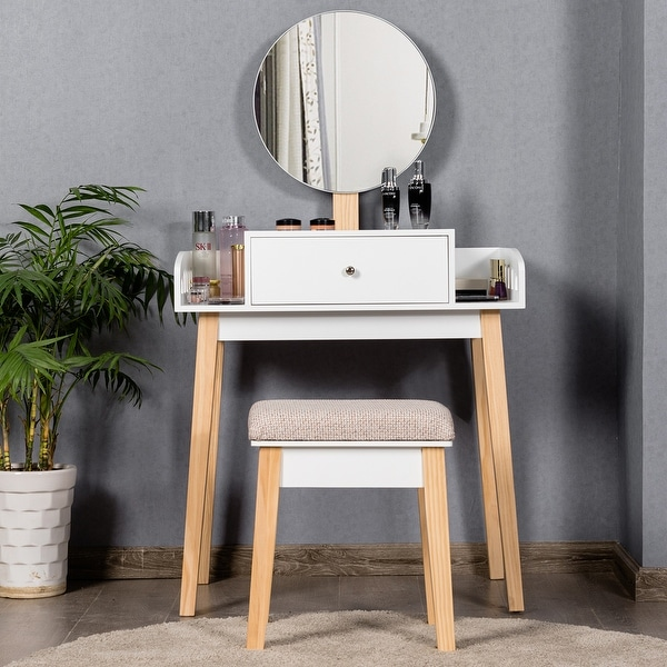 Costway Wooden Vanity Makeup Dressing Table Stool Round 1 Drawer. Opens flyout.