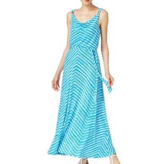 Calvin Klein NEW Blue Women Large L Cowl-Neck Belted Blouson Maxi Dress