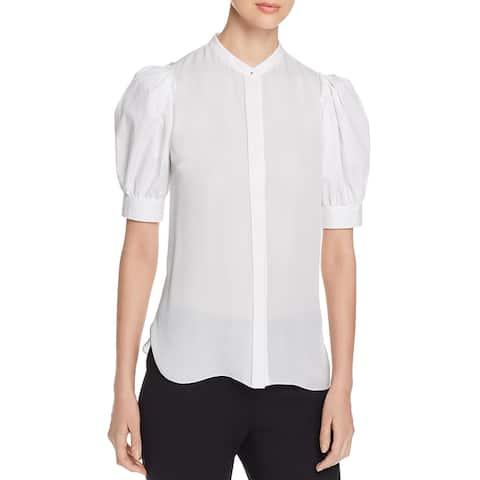 Elie Tahari Womens Kalila Blouse Puff Sleeve Sheer - White