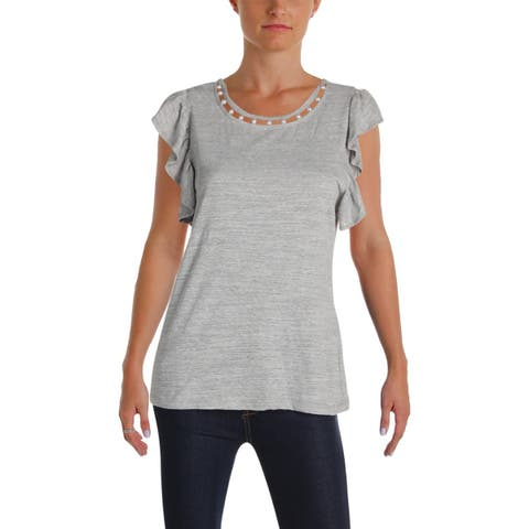 Aqua Womens T-Shirt Embellished Butterfly Sleeves