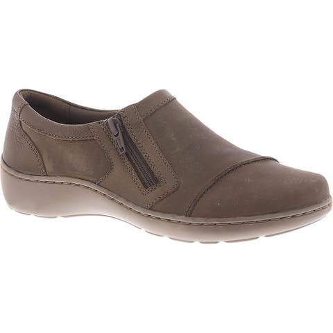 Clarks Womens Cora Giny Loafers Suede Slip On - Taupe